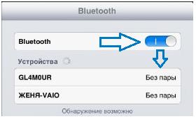 Окно Bluetooth