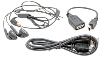 Минигарнитура, зарядка, USB-кабель