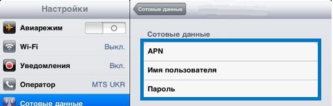 Имя пользователя, пароль и APN