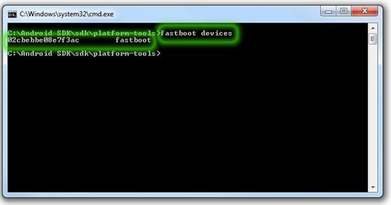 Установка каталога утилиты fastboot