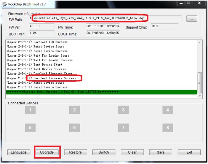 Программа RKBatchTool, запись прошивки