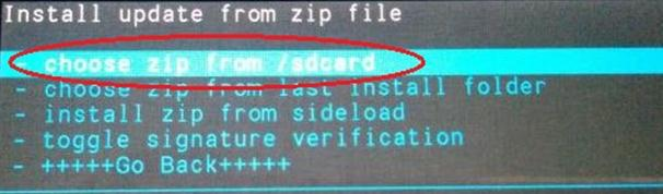 Choose zip from /sdcard